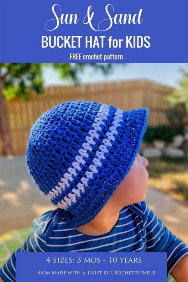 4th of july crochet bucket hat for kids