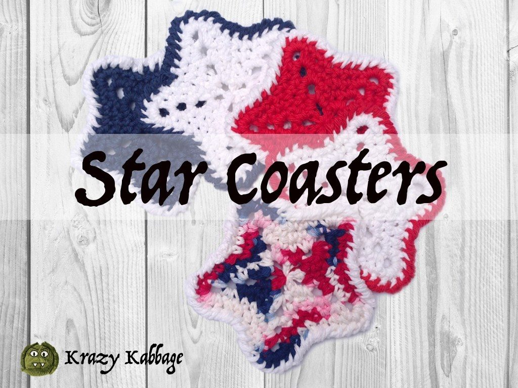 Krazy Kabbage Crochet 4th of july Star Coasters