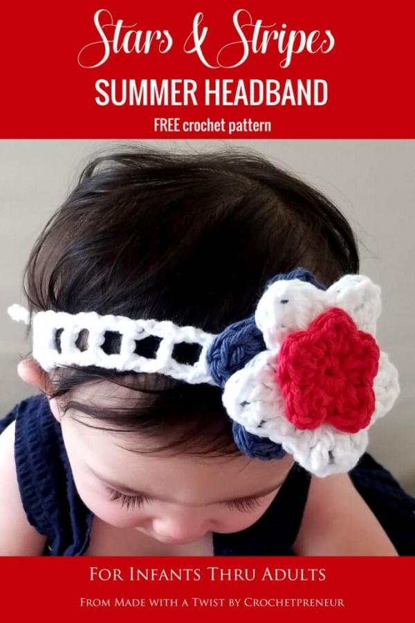 4th of july crochet stars and stripes summer headband for kids