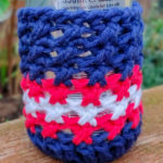 Patriotic American crochet can and glass bottle cozy pattern