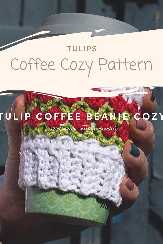 Tulips coffee beanie cozy