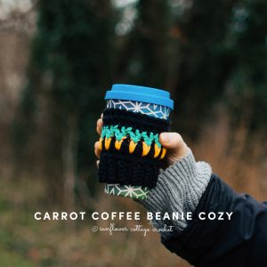 our easter coffee beanie cozy worked in a darker background really makes the carrots 'pop'