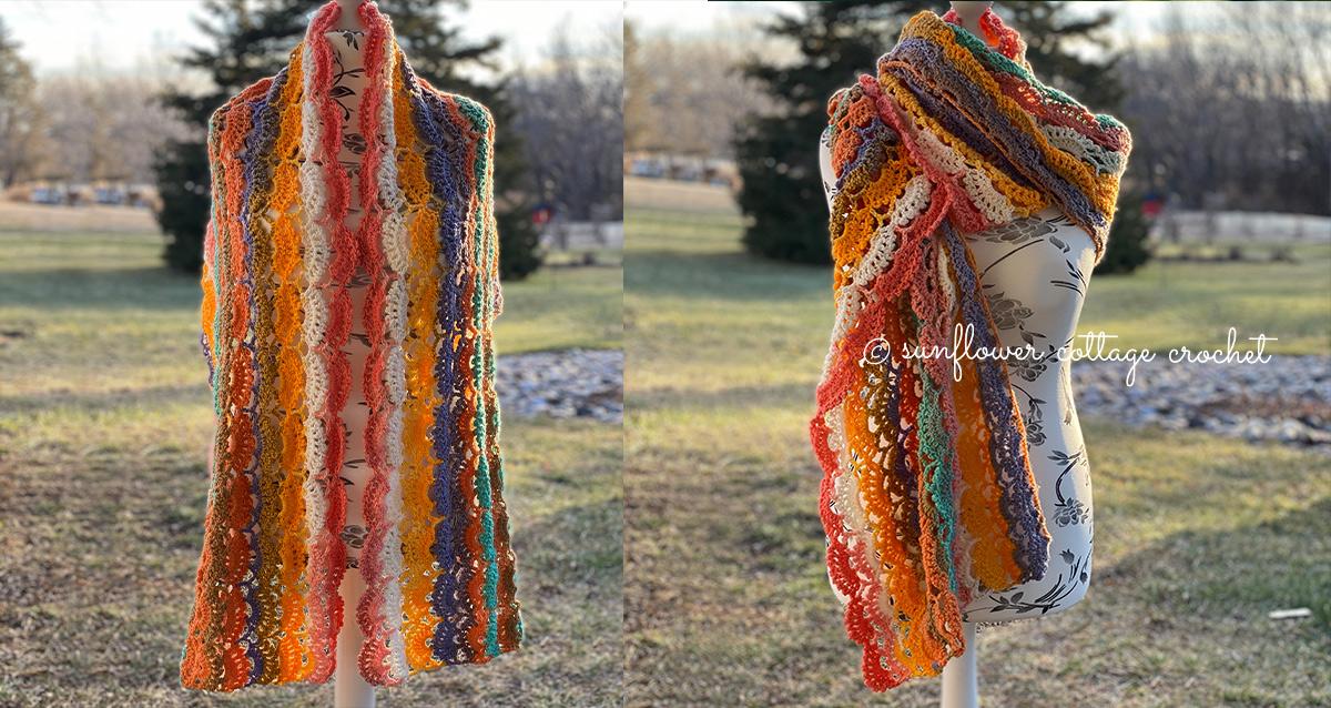 Picot Fan Wrap Crochet Pattern