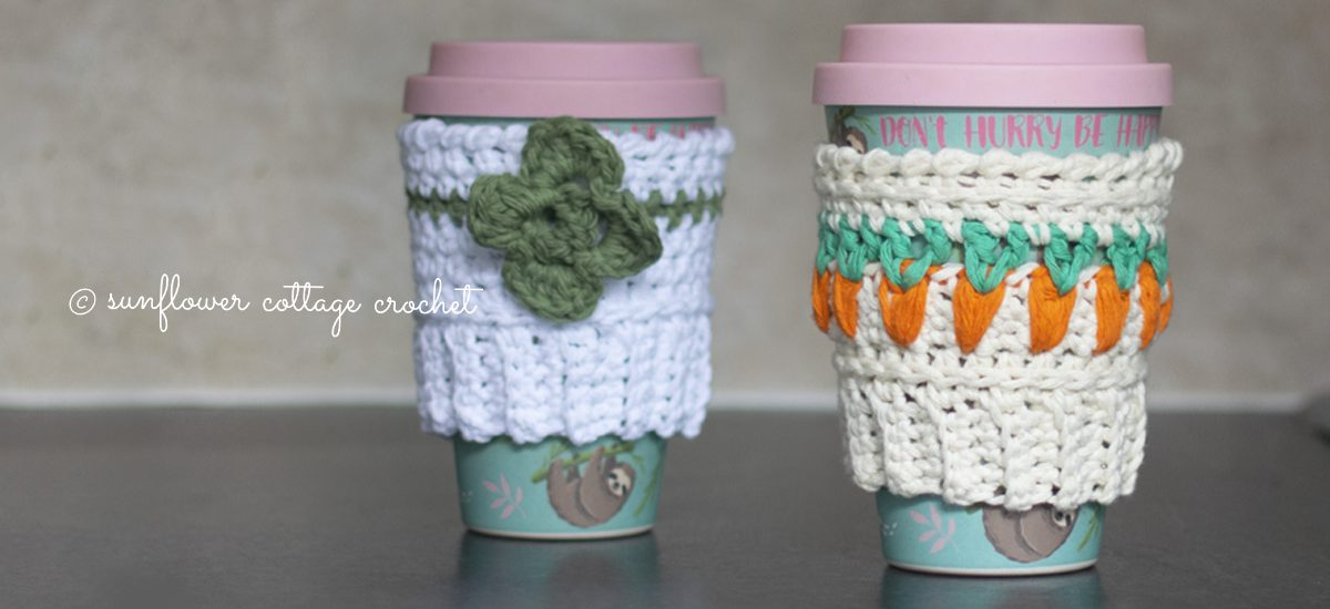 Easter and Clover Coffee Beanie Cozies Crochet Patterns